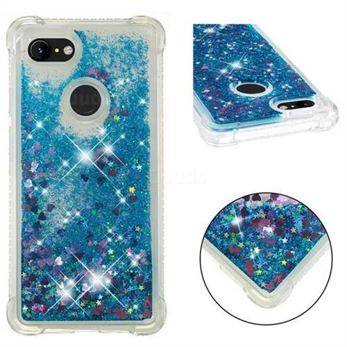 Dynamic Liquid Glitter Sand Quicksand TPU Case for Google Pixel 3 XL - Blue Love Heart