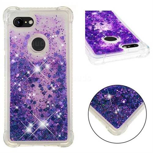Dynamic Liquid Glitter Sand Quicksand Star TPU Case for Google Pixel 3 XL - Purple