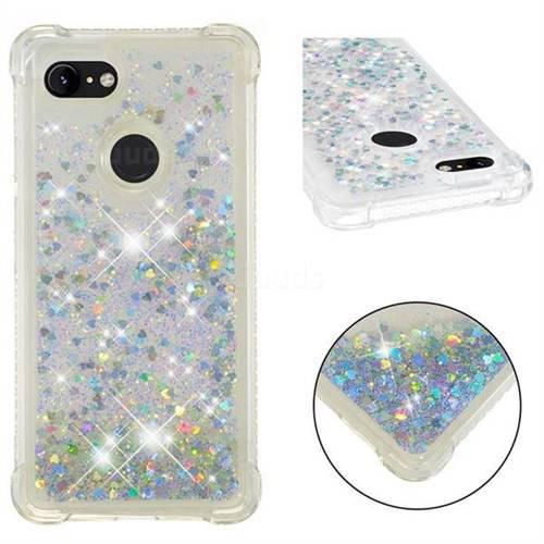 Dynamic Liquid Glitter Sand Quicksand Star TPU Case for Google Pixel 3 XL - Silver