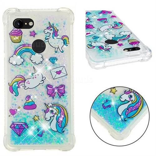 Fashion Unicorn Dynamic Liquid Glitter Sand Quicksand Star TPU Case for Google Pixel 3 XL