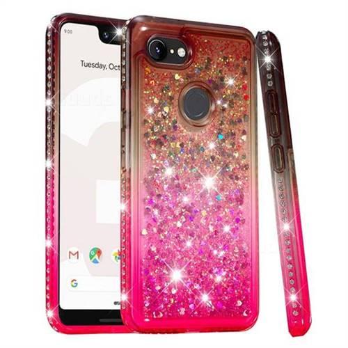 Diamond Frame Liquid Glitter Quicksand Sequins Phone Case for Google Pixel 3 XL - Gray Pink