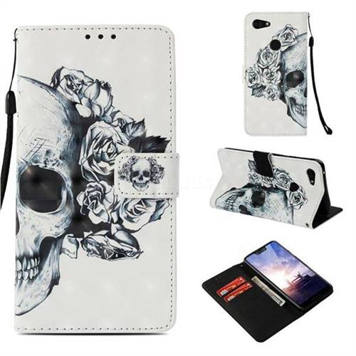 Skull Flower 3D Painted Leather Wallet Case for Google Pixel 3 XL