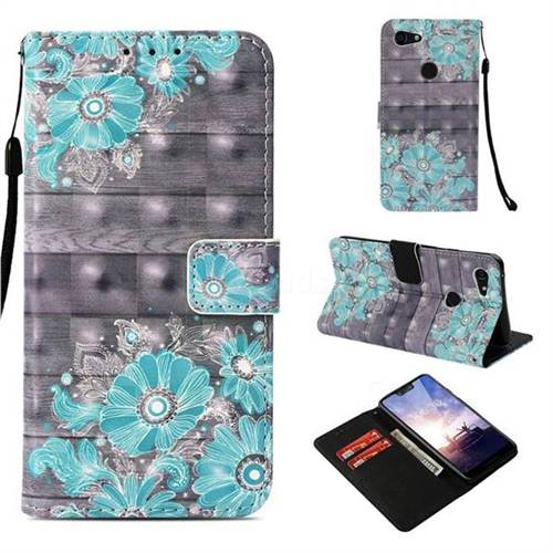 Blue Flower 3D Painted Leather Wallet Case for Google Pixel 3 XL