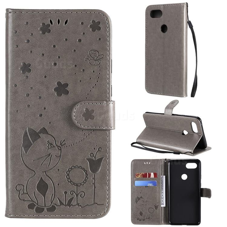 Embossing Bee and Cat Leather Wallet Case for Google Pixel 3 XL - Gray