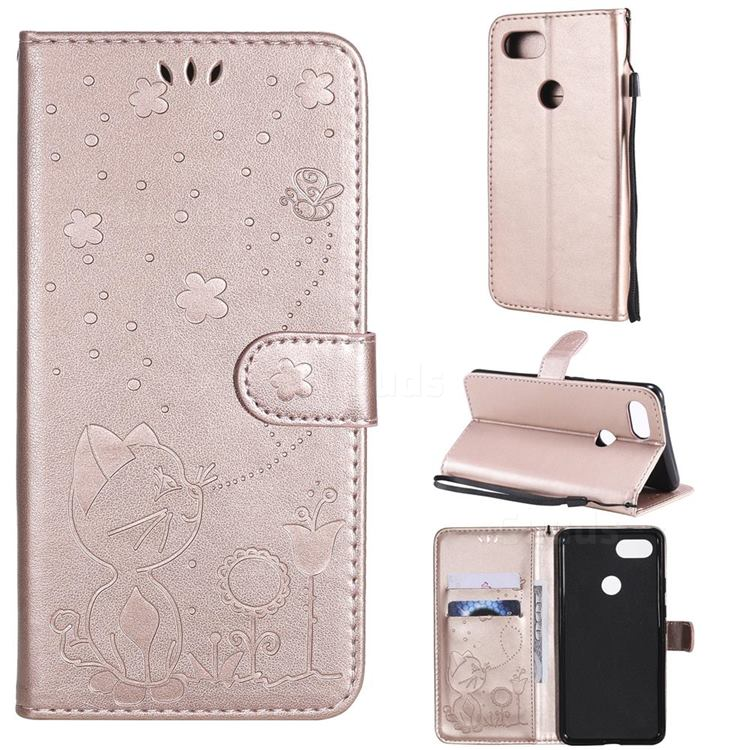 Embossing Bee and Cat Leather Wallet Case for Google Pixel 3 XL - Rose Gold