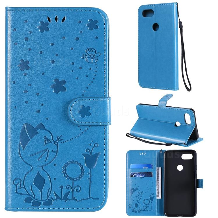 Embossing Bee and Cat Leather Wallet Case for Google Pixel 3 XL - Blue