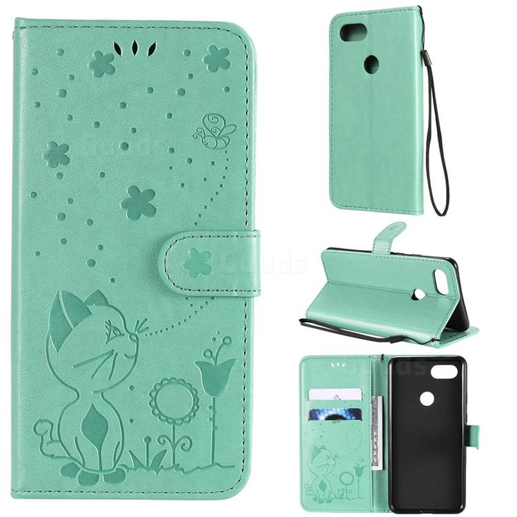 Embossing Bee and Cat Leather Wallet Case for Google Pixel 3 XL - Green