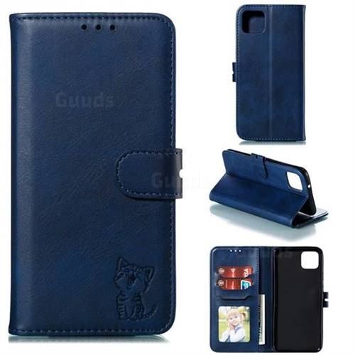Embossing Happy Cat Leather Wallet Case for Google Pixel 4 - Blue