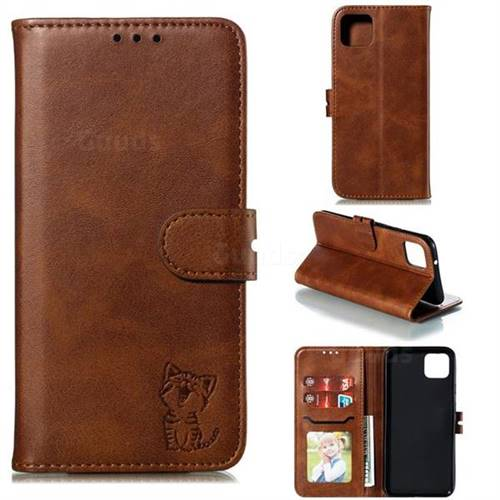 Embossing Happy Cat Leather Wallet Case for Google Pixel 4 - Brown