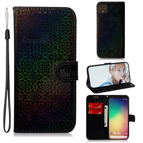 Laser Circle Shining Leather Wallet Phone Case for Google Pixel 4 - Black
