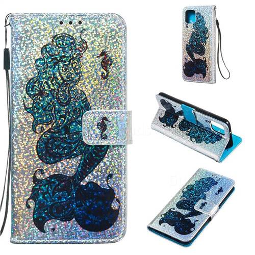 Mermaid Seahorse Sequins Painted Leather Wallet Case for Google Pixel 4