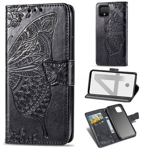 Embossing Mandala Flower Butterfly Leather Wallet Case for Google Pixel 4 - Black