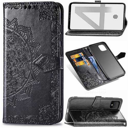 Embossing Imprint Mandala Flower Leather Wallet Case for Google Pixel 4 - Black