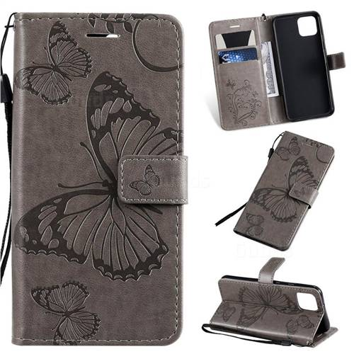 Embossing 3D Butterfly Leather Wallet Case for Google Pixel 4 - Gray