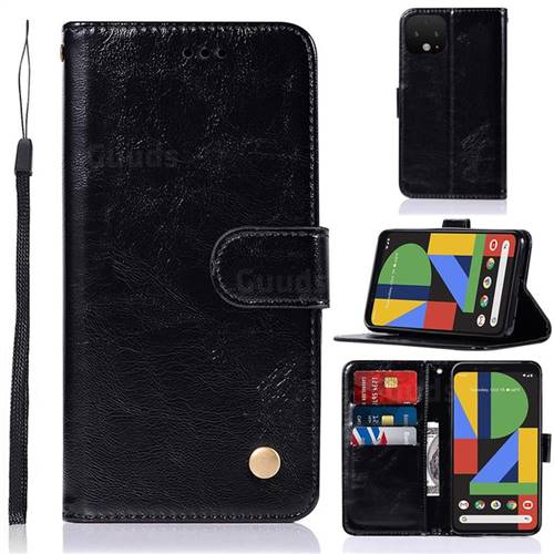 Luxury Retro Leather Wallet Case for Google Pixel 4 - Black
