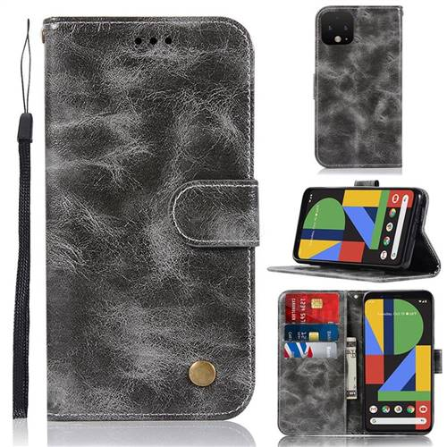 Luxury Retro Leather Wallet Case for Google Pixel 4 - Gray