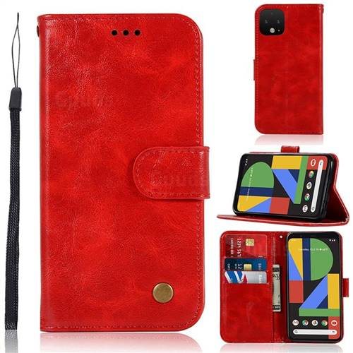 Luxury Retro Leather Wallet Case for Google Pixel 4 - Red