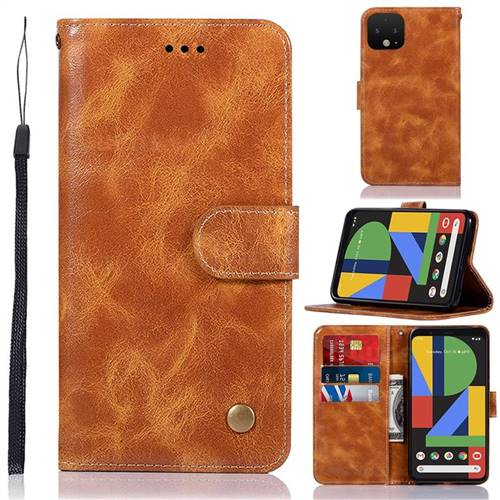 Luxury Retro Leather Wallet Case for Google Pixel 4 - Golden