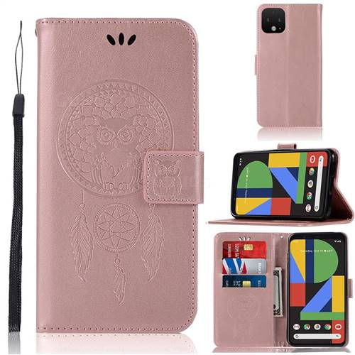 Intricate Embossing Owl Campanula Leather Wallet Case for Google Pixel 4 - Rose Gold