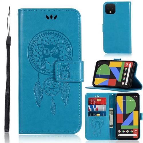 Intricate Embossing Owl Campanula Leather Wallet Case for Google Pixel 4 - Blue