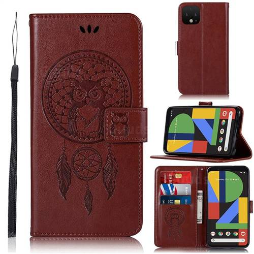 Intricate Embossing Owl Campanula Leather Wallet Case for Google Pixel 4 - Brown