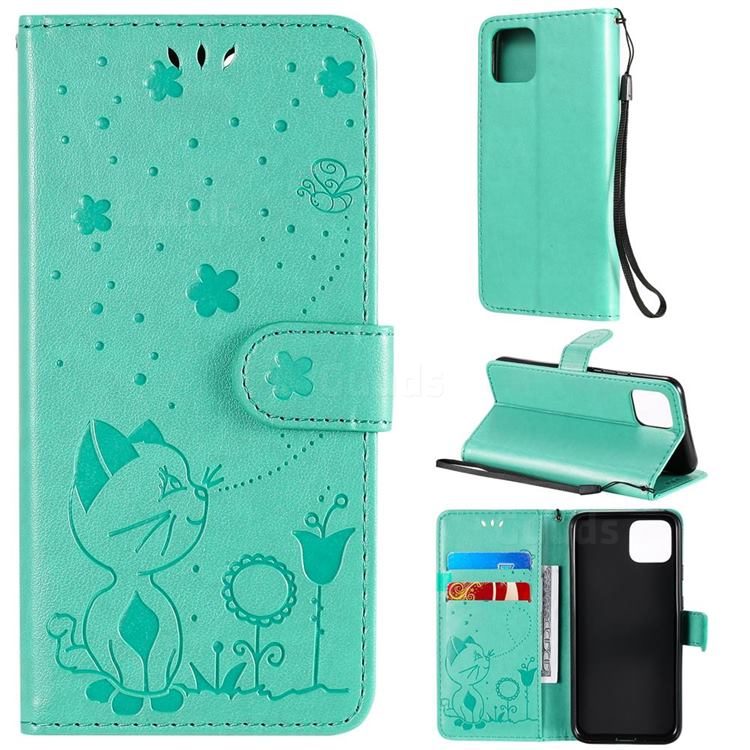 Embossing Bee and Cat Leather Wallet Case for Google Pixel 4 - Green