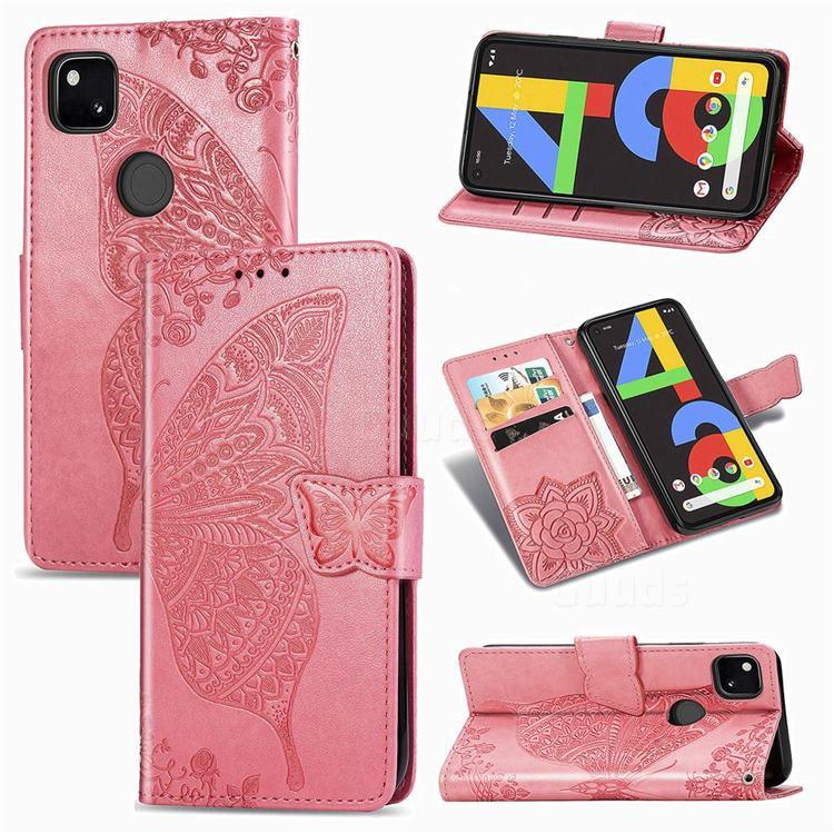 Embossing Mandala Flower Butterfly Leather Wallet Case for Google Pixel 4a - Pink