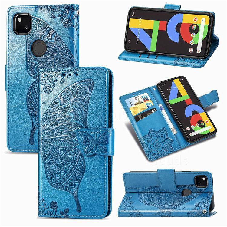 Embossing Mandala Flower Butterfly Leather Wallet Case for Google Pixel 4a - Blue