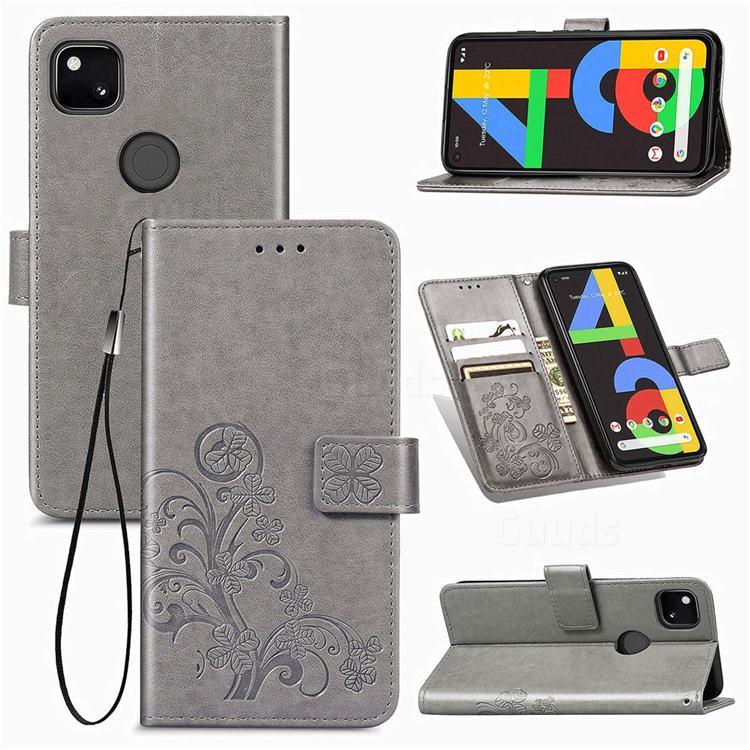 Embossing Imprint Four-Leaf Clover Leather Wallet Case for Google Pixel 4a - Grey