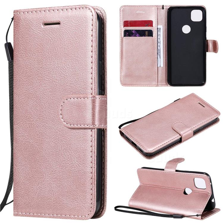 Retro Greek Classic Smooth PU Leather Wallet Phone Case for Google Pixel 4a - Rose Gold