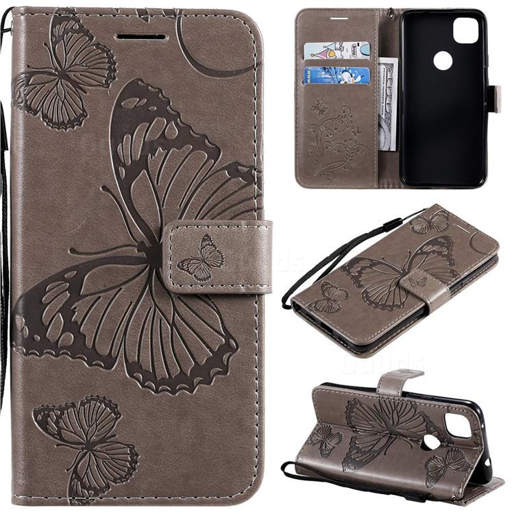 Embossing 3D Butterfly Leather Wallet Case for Google Pixel 4a - Gray