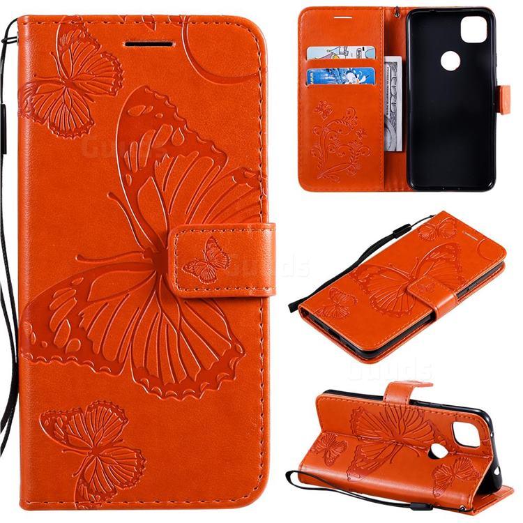 Embossing 3D Butterfly Leather Wallet Case for Google Pixel 4a - Orange
