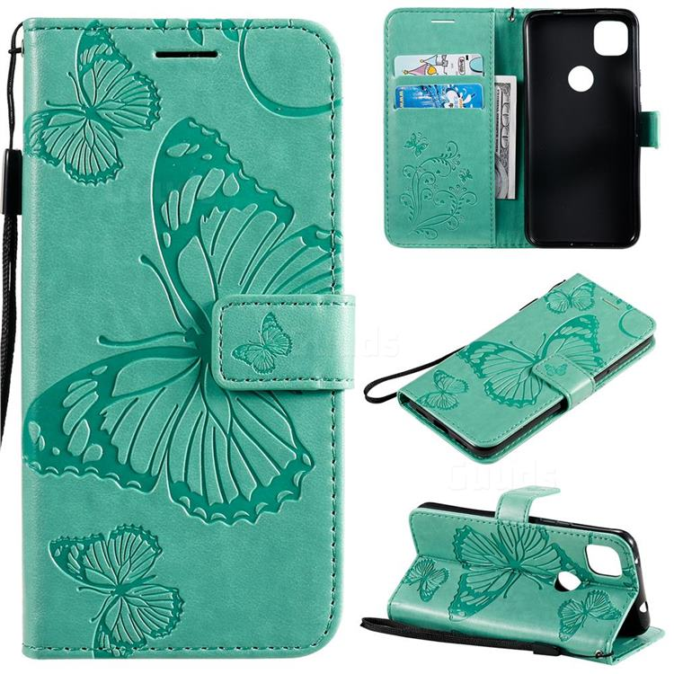 Embossing 3D Butterfly Leather Wallet Case for Google Pixel 4a - Green