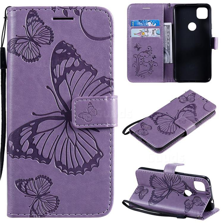 Embossing 3D Butterfly Leather Wallet Case for Google Pixel 4a - Purple
