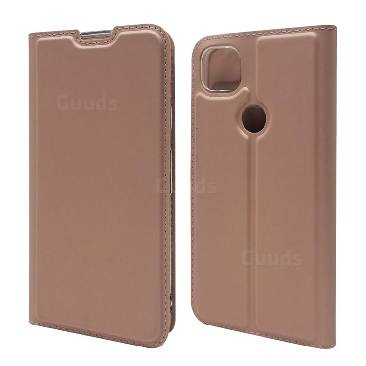 Ultra Slim Card Magnetic Automatic Suction Leather Wallet Case for Google Pixel 4a - Rose Gold
