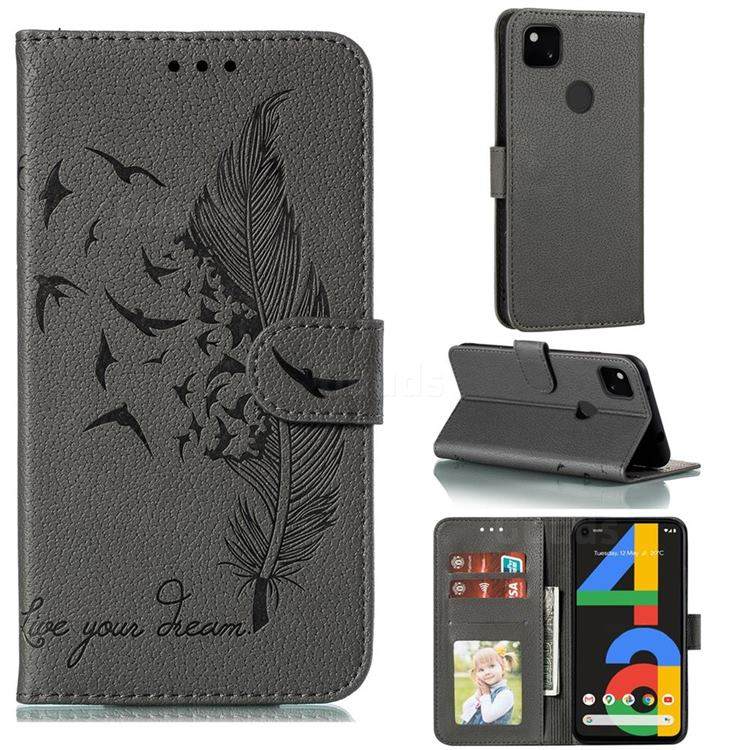 Intricate Embossing Lychee Feather Bird Leather Wallet Case for Google Pixel 4a - Gray