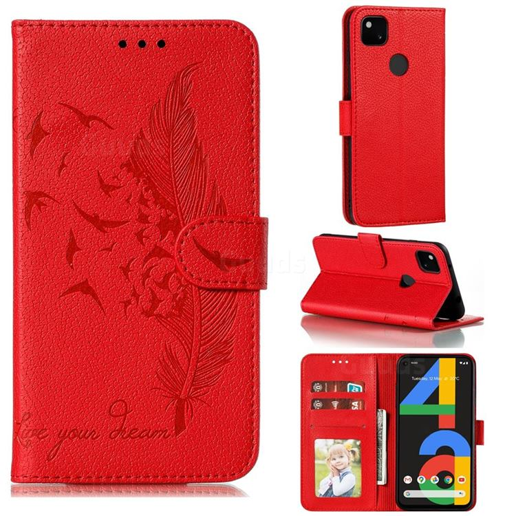 Intricate Embossing Lychee Feather Bird Leather Wallet Case for Google Pixel 4a - Red