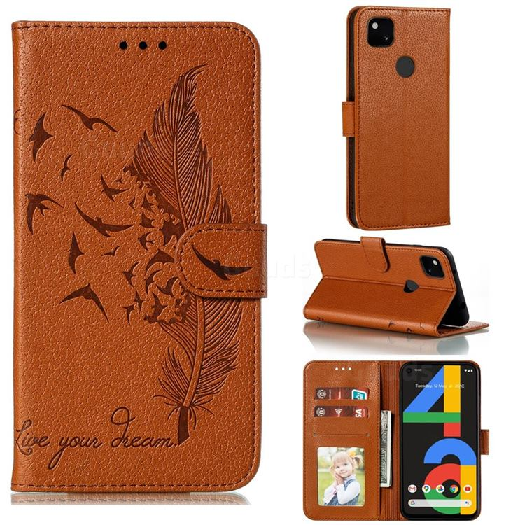 Intricate Embossing Lychee Feather Bird Leather Wallet Case for Google Pixel 4a - Brown
