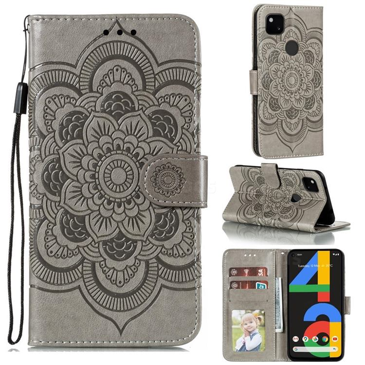 Intricate Embossing Datura Solar Leather Wallet Case for Google Pixel 4a - Gray