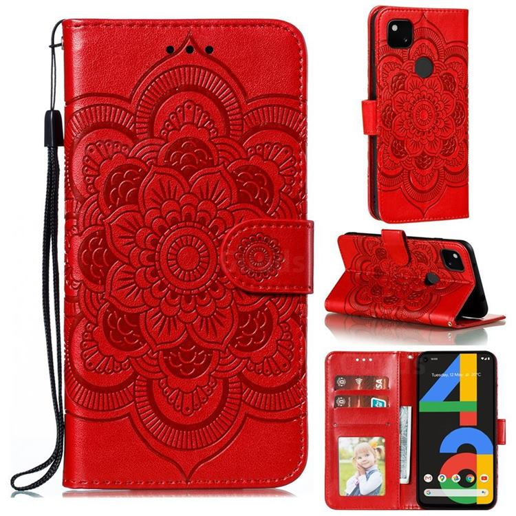 Intricate Embossing Datura Solar Leather Wallet Case for Google Pixel 4a - Red