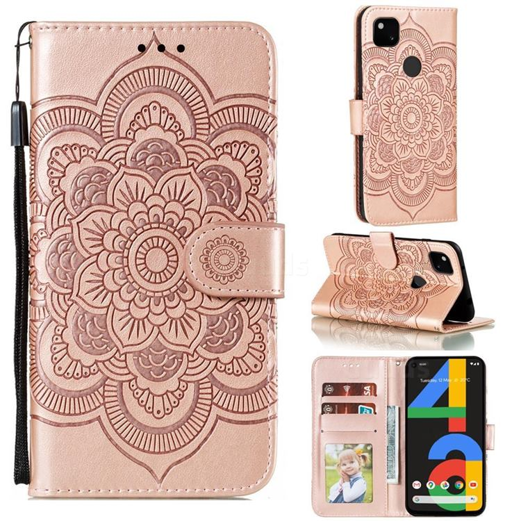 Intricate Embossing Datura Solar Leather Wallet Case for Google Pixel 4a - Rose Gold