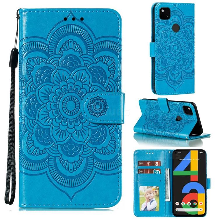 Intricate Embossing Datura Solar Leather Wallet Case for Google Pixel 4a - Blue