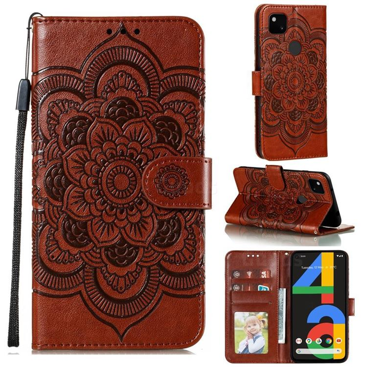 Intricate Embossing Datura Solar Leather Wallet Case for Google Pixel 4a - Brown