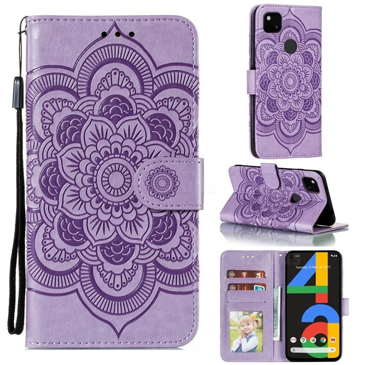 Intricate Embossing Datura Solar Leather Wallet Case for Google Pixel 4a - Purple