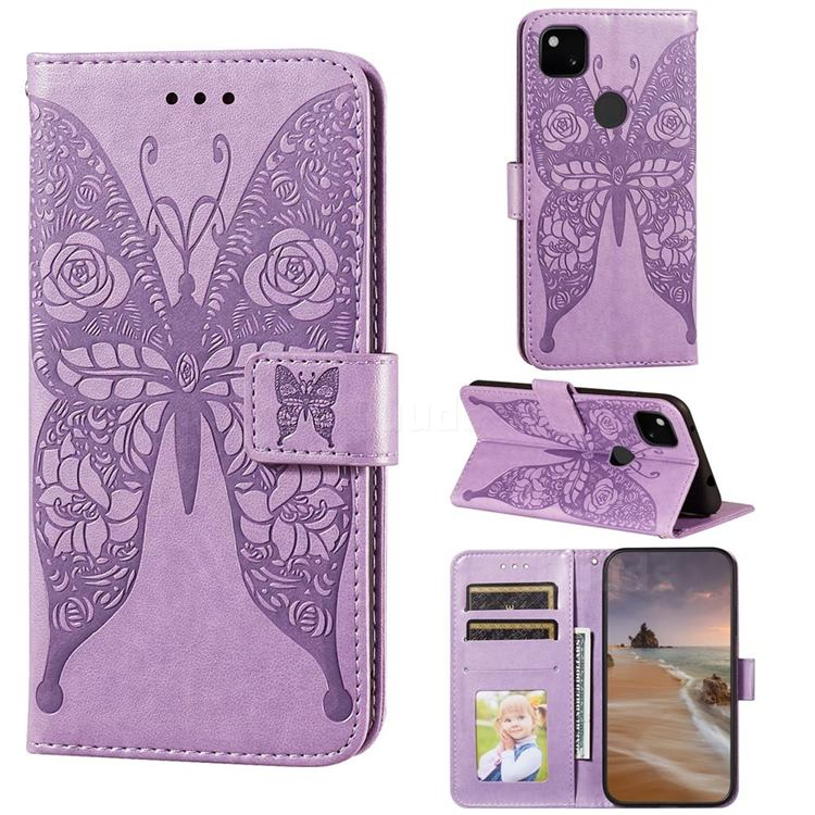 Intricate Embossing Rose Flower Butterfly Leather Wallet Case for Google Pixel 4a - Purple