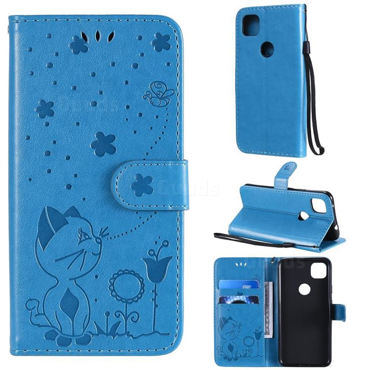 Embossing Bee and Cat Leather Wallet Case for Google Pixel 4a - Blue