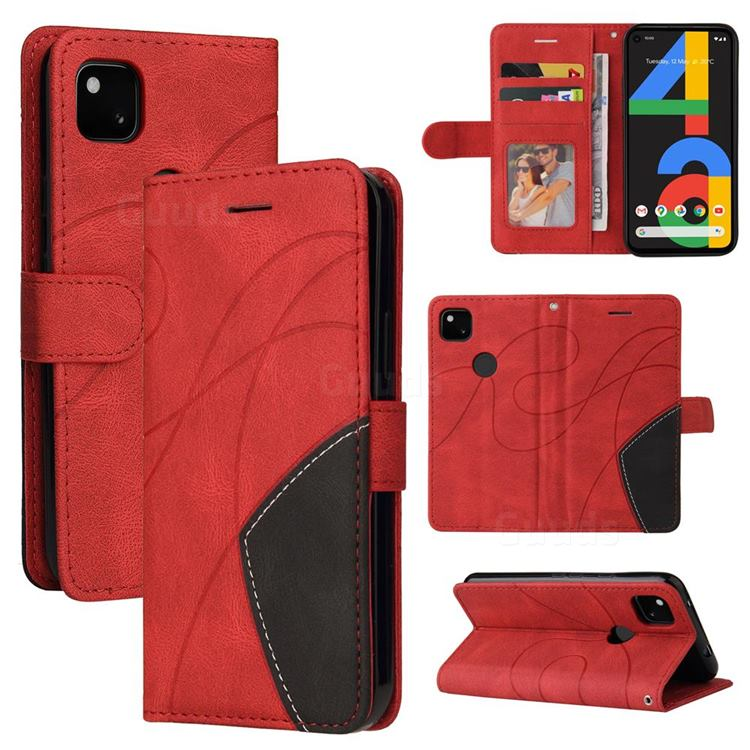Luxury Two-color Stitching Leather Wallet Case Cover for Google Pixel 4a - Red