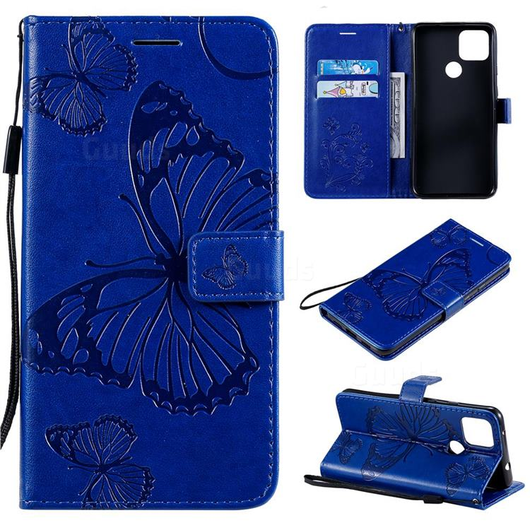 Embossing 3D Butterfly Leather Wallet Case for Google Pixel 4a 5G - Blue