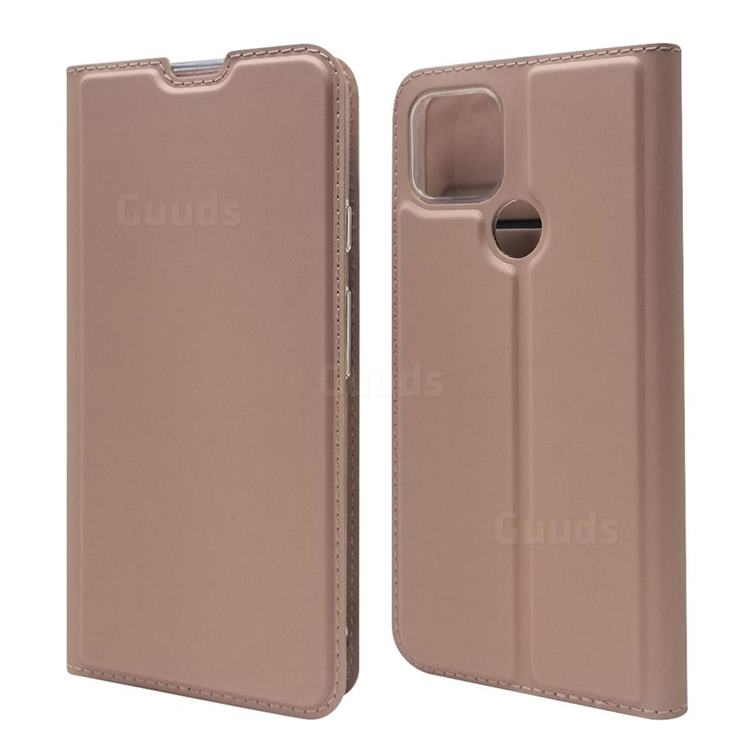 Ultra Slim Card Magnetic Automatic Suction Leather Wallet Case for Google Pixel 4a 5G - Rose Gold