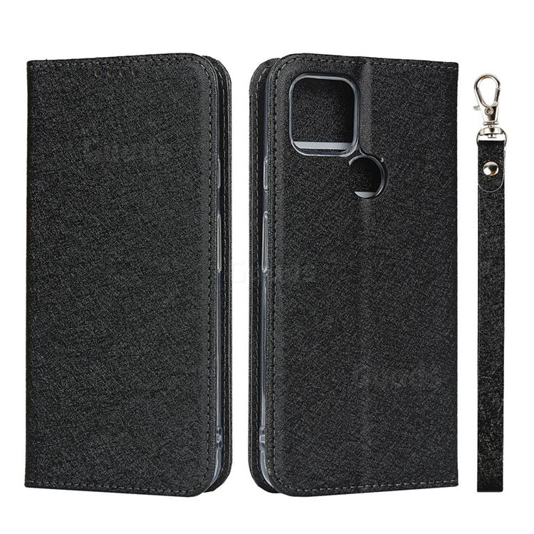 Ultra Slim Magnetic Automatic Suction Silk Lanyard Leather Flip Cover for Google Pixel 4a 5G - Black